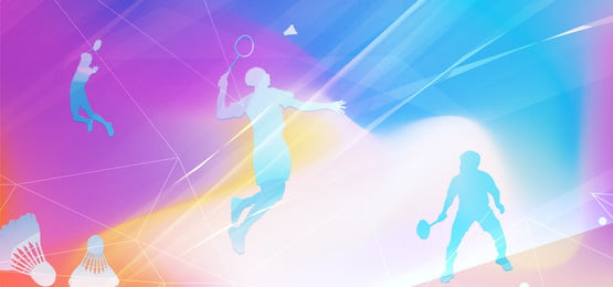 colorful light effect badminton club poster background material, Colorful Light Effect Background, Badminton Player, Sports Background image