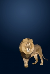 geometric lion blue bottom poster background material , Lion, Geometric, Line Background image