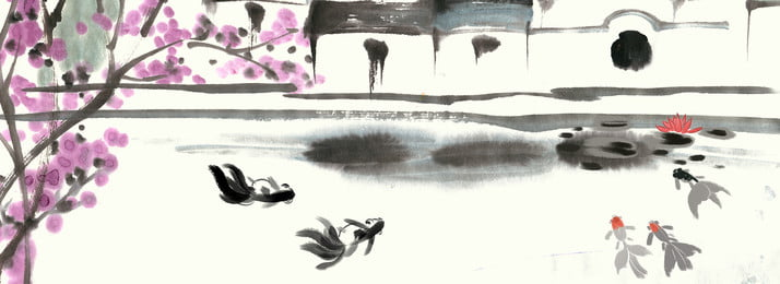 goldfish jiangnan water town ink culture poster background, Ink Strokes, Goldfish, Jiangnan Water Town Background image