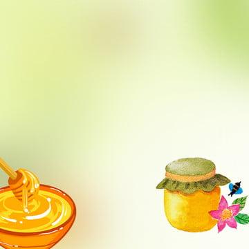 簡約 小清新 植物背景 食品促銷 , 蜂蜜促銷, 簡約, 蜜蜂背景 背景圖片