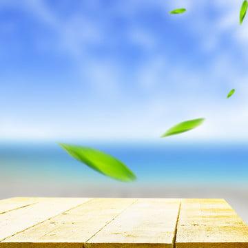 アート 小さな新鮮な白い木 緑の葉 青い空 , アート, 海, 小さな新鮮な白い木 背景画像