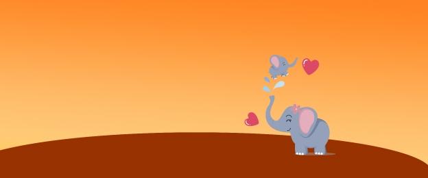 fondo naranja elefante de dibujos animados bebé elefante y bebé elefante pancarta de madre y bebé, Naranja, Dibujos, Juguetes Imagen de fondo