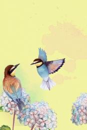 phác thảo giấy chim và hoa nền , Nền Phác Thảo, Chim, Phác Ảnh nền