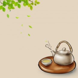 趣のある背景 緑の葉 黒インク お茶セット , 緑茶, お茶セット, 電車の中 背景画像