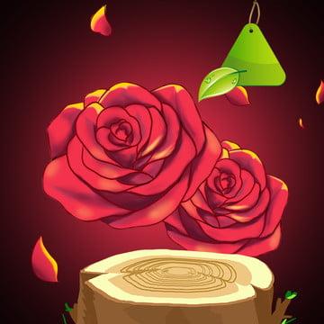 赤の背景 赤いバラ 木の杭 木 , メイク, 木, エッセンス 背景画像