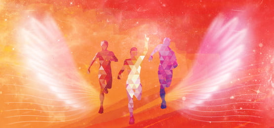 running character silhouette flying wings red poster background, Running, Character, Silhouette Background image