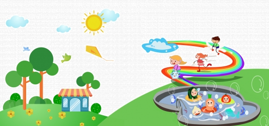 school cartoon childlike blue enrollment background poster, School, Rainbow, Playing Background image