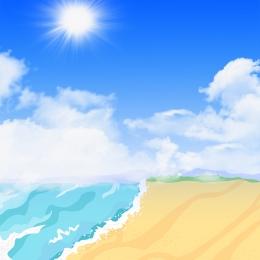 夏天背景 夏日海邊 海邊背景 藍色冰塊 , 空調, 海邊背景, 夏天背景 背景圖片