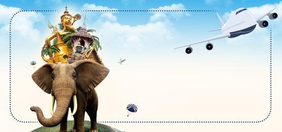 vector dibujos animados viajes tailandia, Avión, Tailandia, Tailandés Imagen de fondo