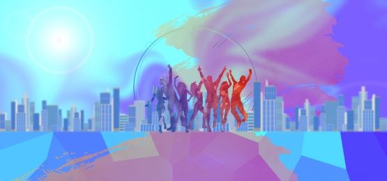 teamwork jumping character company corporate culture blue poster, Team, Cooperation, Jumping Background image