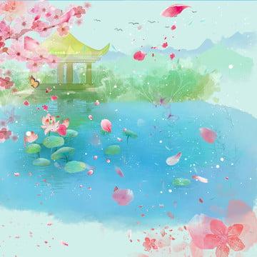 ten mile peach blossom peach blossom peach blossom blue , Flying, Trung, Cách Ảnh nền