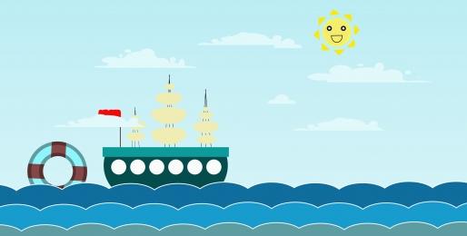 adventure cartoon sailboat sea wave banner, Adventure, Cartoon, Small Sailboat Background image