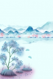 aesthetic classical spring landscape , Beautiful, Hand-painted, Aesthetic ภาพพื้นหลัง
