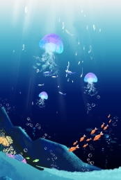 beautiful midsummer night dream poster design , Jellyfish, Dream, Design Фоновый рисунок