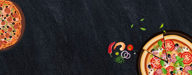 black simple and delicious pizza food e commerce banner taobao, Black, Simple, Delicious Background image