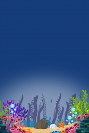 Blue Seabed Coral Bean Underwater World H5 Material, Coral Beans, Corals, Blue, Background image