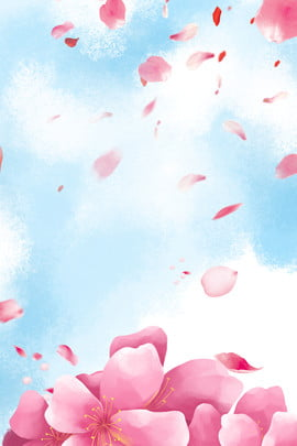 Blue Sky Flower Cosmetics Poster Background Material, Blue Sky, Fresh, Beautiful, Background image