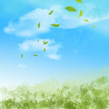 藍天 白雲 清新 綠葉圖片 , 地平面, 地面, 綠葉圖片 背景圖片