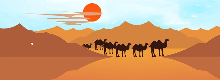 camel poster walking along the belt and road desert, Belt And Road Background, Belt And Road Poster, E-commerce Background Background image