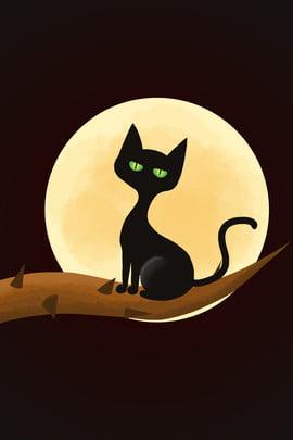 漫画 手描き ハロウィーン 黒猫 , カボチャの頭, 漫画手描きハロウィーン黒猫のカボチャの頭の背景, 赤のチェック柄 背景画像