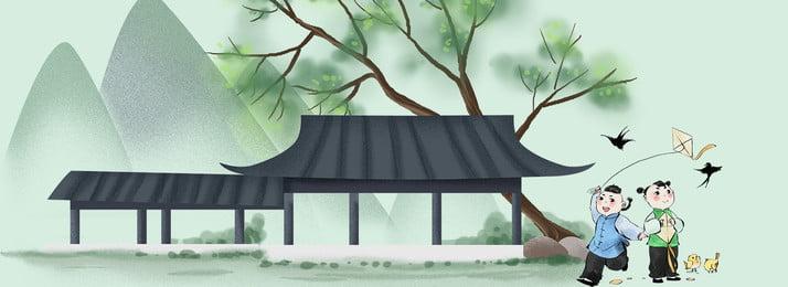 レトロ 創造的です 中国語 インク 手描きの凧 デザイン 創造的です 背景画像