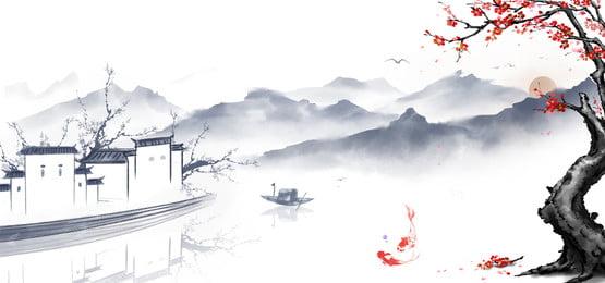 中国風の背景 古代の韻 水墨画 バナー 中国風の古代韻水墨画バナー 山頂 中国風の背景 背景画像