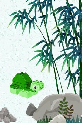中國風 竹子 樂高 h5背景 , 機器人, 國風, 節氣 背景圖片