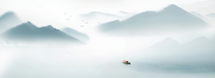 中國風 水墨 扇面 雲海 船隻 中國風水墨背景banner 中國風背景圖庫