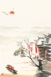 jiangnan छाप चीनी शैली स्याही jiangnan दृश्यों jiangnan विशेषताओं , Jiangnan छाप, शहर, स्याही पृष्ठभूमि छवि