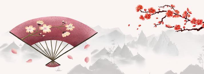 中國風 水墨山水 梅花 紅絲綢 紅絲綢 開心 梅花背景圖庫