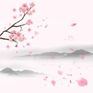 चीनी शैली पृष्ठभूमि स्याही पृष्ठभूमि गुलाबी पंखुड़ियों बेर , ट्रेन के माध्यम से, पृष्ठभूमि, चीनी शैली पृष्ठभूमि पृष्ठभूमि छवि