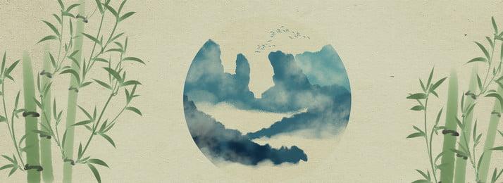 中国風 レトロ風 水墨画 風景画 山頂 花と鳥 レトロ風 背景画像