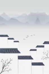 huizhou वास्तुकला सफेद दीवार चीनी शैली , सरल, ग्रे टाइल, ताजा पृष्ठभूमि छवि