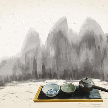 中国風 茶道 お茶 インク中国風 , インク, 中国風, 中国風茶道 背景画像