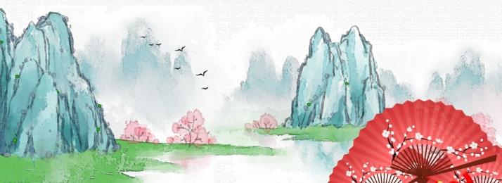 手繪中國風 國畫山水 banner背景 黑白 寫意 花卉 手繪背景背景圖庫