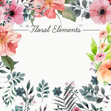 古典 水彩 花卉 花卉邊框 , 主圖背景, 清新, 古典 背景圖片