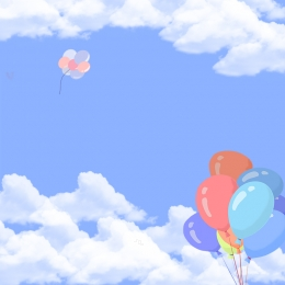 Colorful balloons blue background white clouds background children s products Main Picture Balloons Imagem Do Plano De Fundo