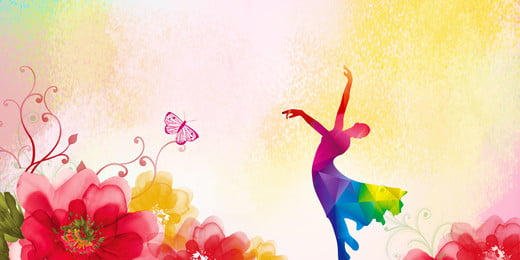 colorful gorgeous background dancer silhouette dance enrollment, Advertising Poster Background, Dance Enrollment, Passion Фоновый рисунок