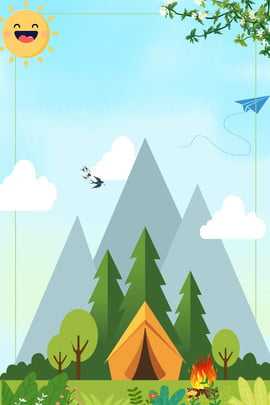Creative phim hoạt hình tươi trại hè Cắm Sáng áp Hình Nền