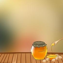 蜂蜜 美味 木板 模糊 , 勺子, 美味, 蜂蜜 背景圖片