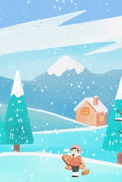 fantasy background winter snow cartoon background , Footprints, Blue Background, Snow Imagem de fundo