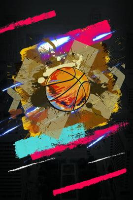 flat basketball sport poster background , Hand Drawn, Flat Style, Basketball Background image