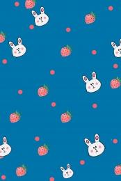 Blue bunny flat background rabbit cartoon Strawberry Cartoon Rabbit Imagem Do Plano De Fundo