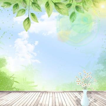 清新自然 家居生活 木板背景 綠色植物 , 清新自然, 淘寶, 綠色漸變 背景圖片