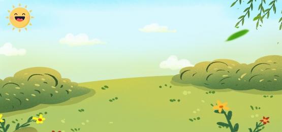 手描き 庭のフェンス ツリー フェンス, 雲, 背景, ツリー 背景画像