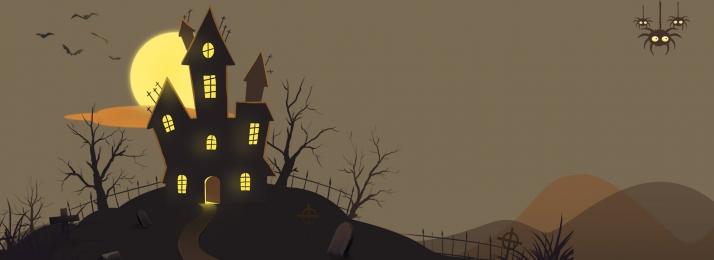 halloween halloween banner pumpkin castle, Lễ, Hội, Castle Ảnh nền