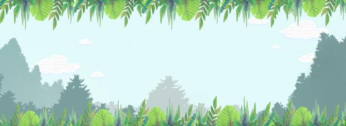 手描きの背景 漫画 アニメデザイン 森林, イラスト, 印刷広告, ホームテキスタイル 背景画像