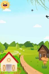हाथ से पेंट चित्रित सुंदर खेत झोपड़ी परिदृश्य चित्रित , बाड़, हाथ से पेंट, बाल्टी पृष्ठभूमि छवि