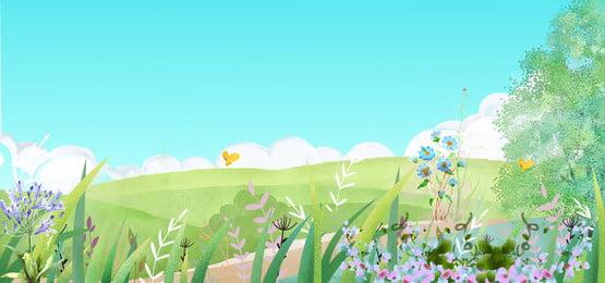 手描きの背景 漫画の背景 イラスト 庭, 夏, イラスト, 庭 背景画像