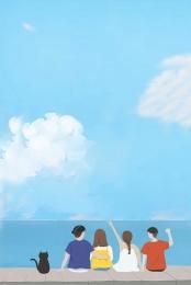 hello august blue sky background design , Material, Fresh, August Фоновый рисунок
